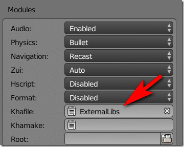 Scene Settings Panel - Using External Libraries in Armory