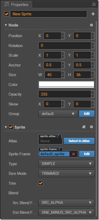 Properties - New Sprite - Cocos Creator - Devga.me Tutorial