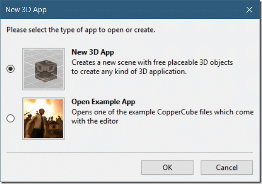 CopperCube - Creating a Project