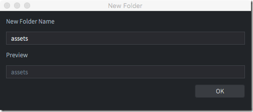 New folder name in Defold