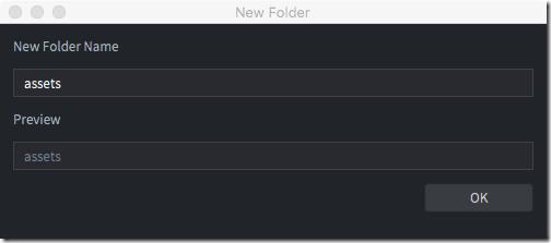 New folder name Defold
