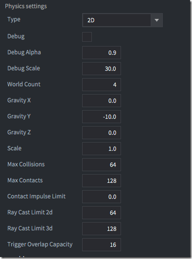 Physics settings in game.project.