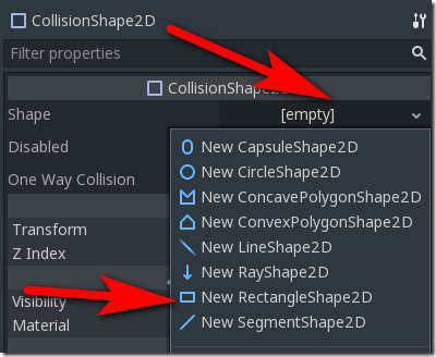 CollisionShape2D-shape Godot Game Engine Screenshot