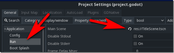 Configuring-Main-Scene Godot Screenshot
