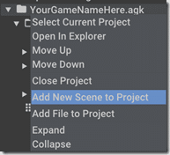 AppGameKit Add New Scene